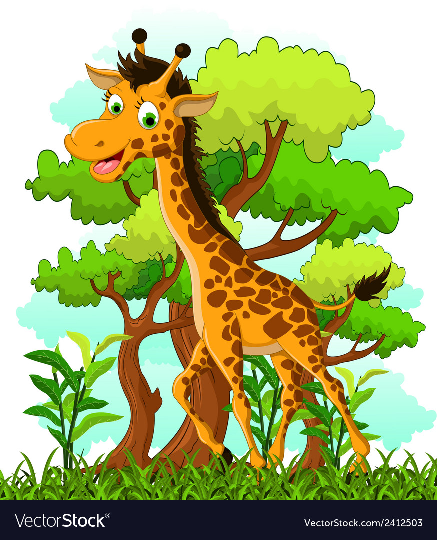 Giraffe cartoon on forest background vector | Price: 1 Credit (USD $1)