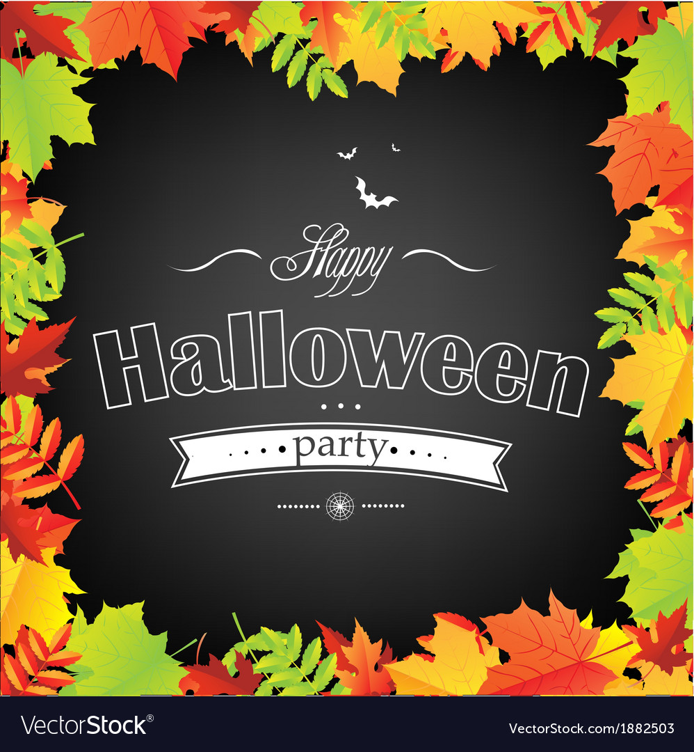 Halloween frame with leaves vector | Price: 1 Credit (USD $1)