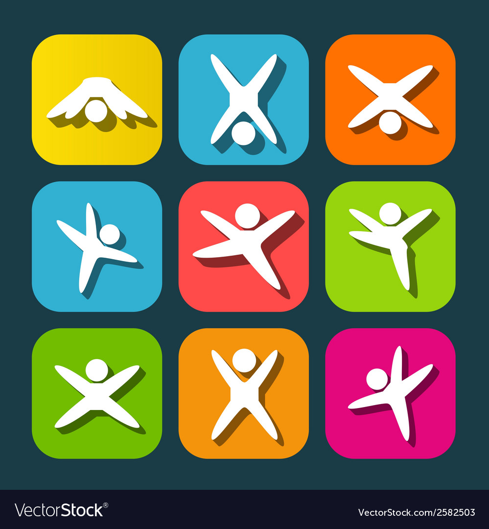 Icons of modern people leading active lifestyle vector | Price: 1 Credit (USD $1)