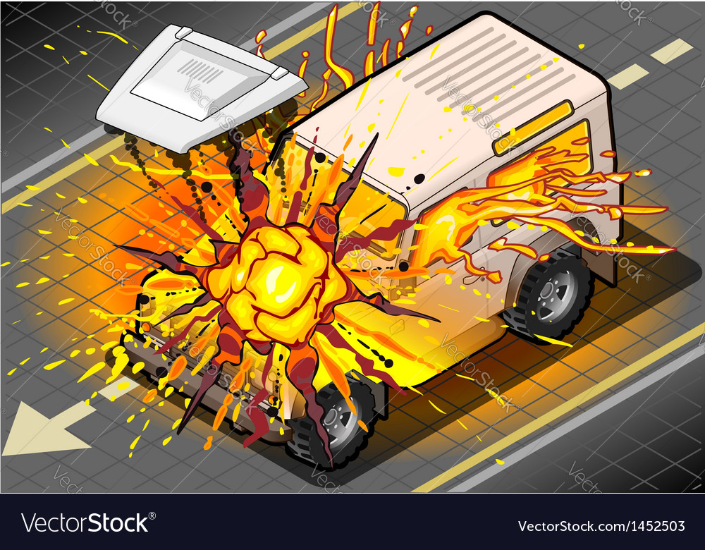 Isometric white cross country vehicle in explosion vector | Price: 1 Credit (USD $1)