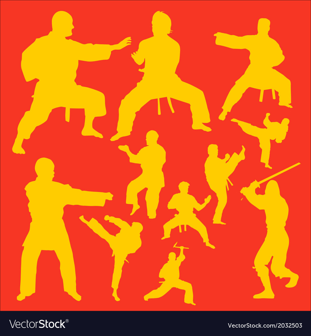 Karate action digital clipart vector | Price: 1 Credit (USD $1)