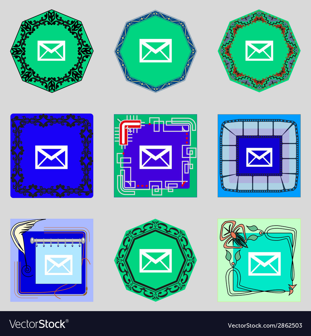 Mail icon envelope symbol message at sign vector | Price: 1 Credit (USD $1)