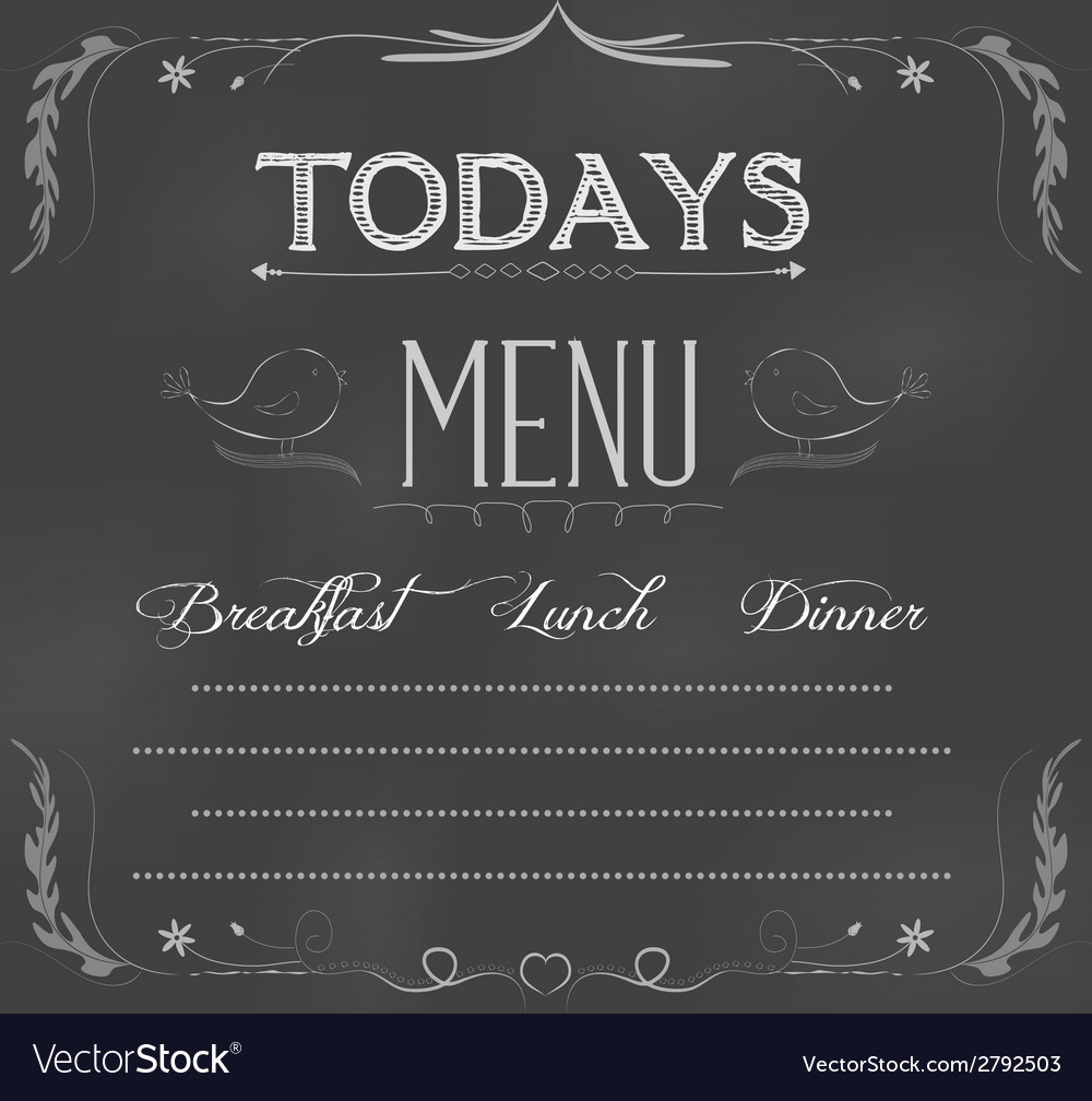 Menu written on chalkboard vector | Price: 1 Credit (USD $1)