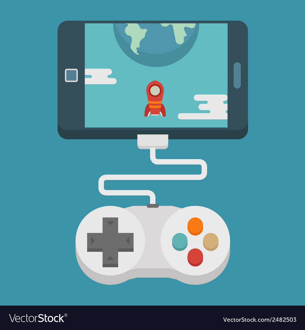 Mobile gaming concept flat design vector | Price: 1 Credit (USD $1)
