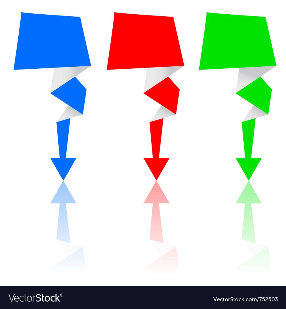Origami arrow set vector