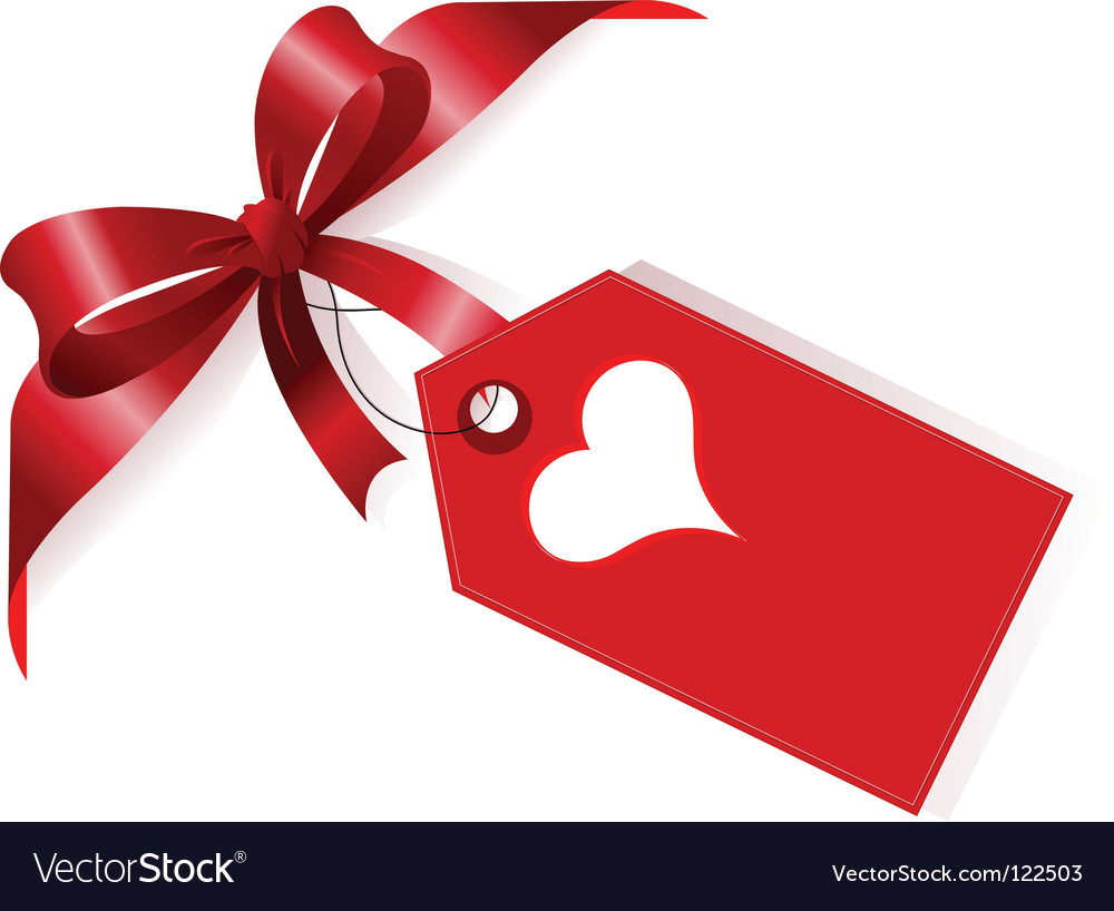 Ribbon and heart label vector | Price: 1 Credit (USD $1)