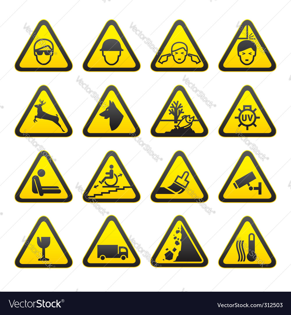 Safety sign set vector | Price: 1 Credit (USD $1)