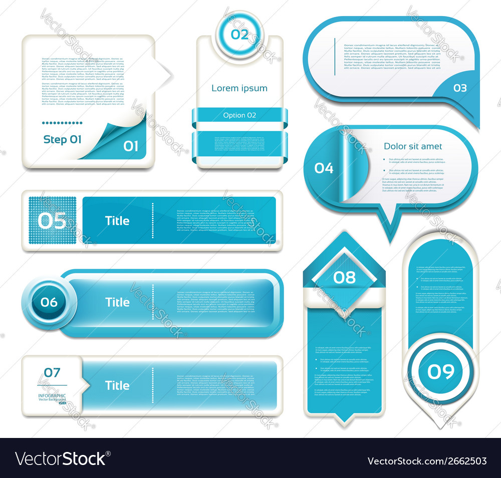Set of blue progress version step icons eps 10 vector | Price: 1 Credit (USD $1)