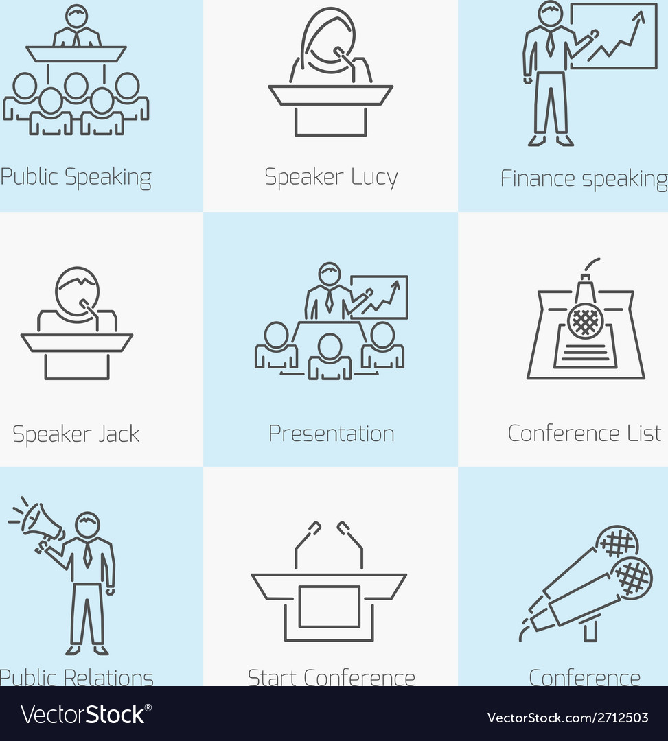 Set of public speaking icons vector | Price: 1 Credit (USD $1)