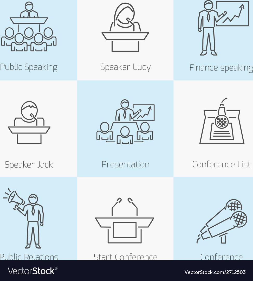Set of public speaking icons vector | Price: 1 Credit (USD $1)