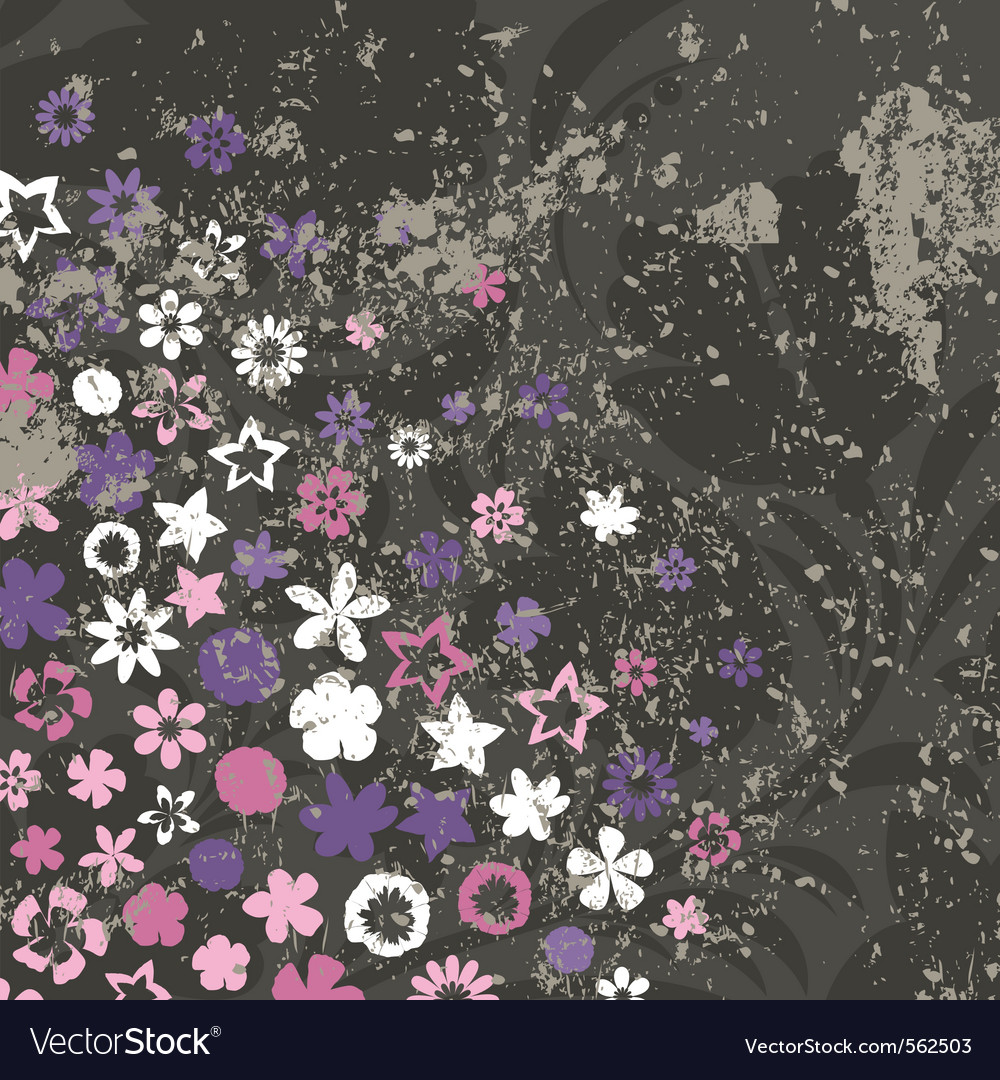 Vintage retro flower background vector | Price: 1 Credit (USD $1)
