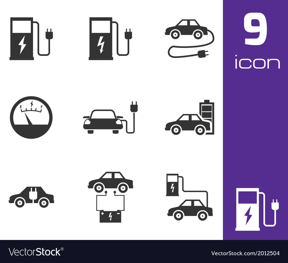 Black electric car icons set vector | Price: 1 Credit (USD $1)
