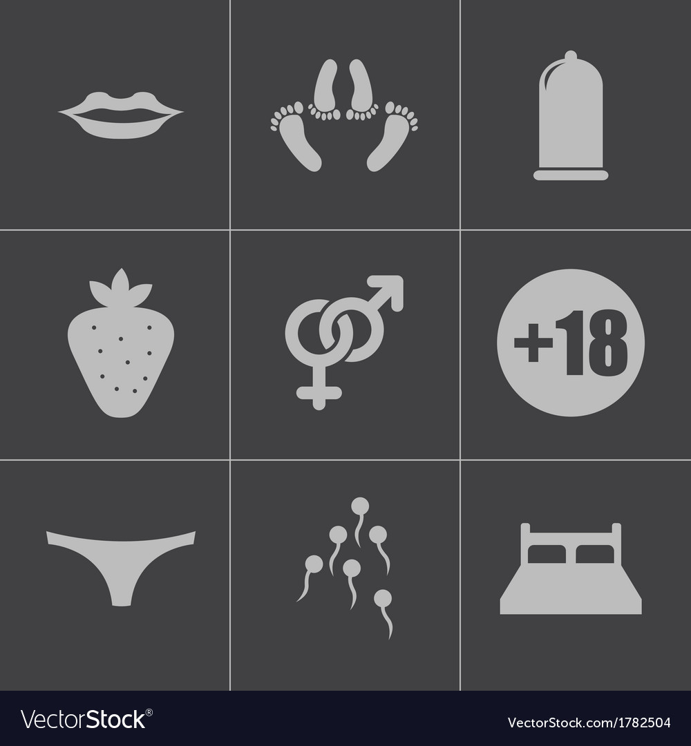Black sex icons set vector | Price: 1 Credit (USD $1)