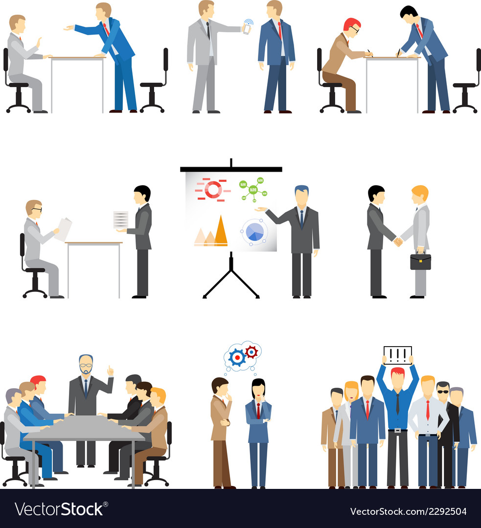 Business peoples in different poses vector | Price: 1 Credit (USD $1)