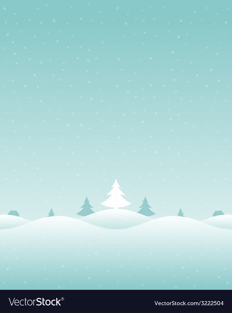 Christmas retro winter lanscape and trees vector | Price: 1 Credit (USD $1)