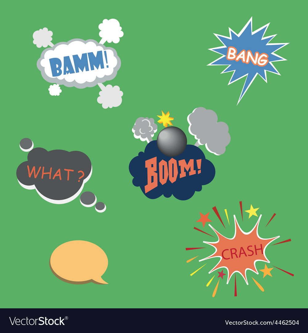Collection of multicolored comic sound effects vector | Price: 1 Credit (USD $1)