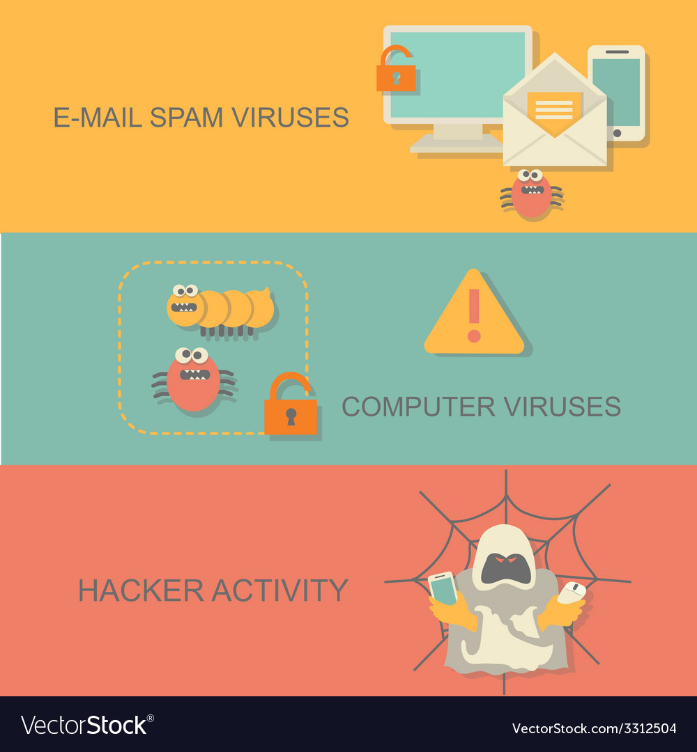 Hacker activity computer and e-mail spam viruses vector | Price: 1 Credit (USD $1)