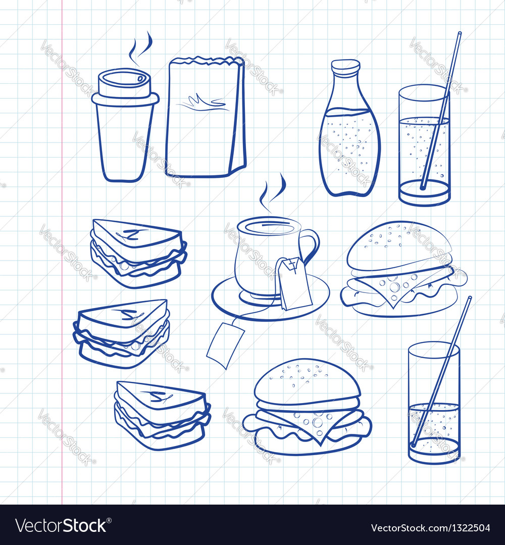 Hand drawn outlines of food vector | Price: 1 Credit (USD $1)