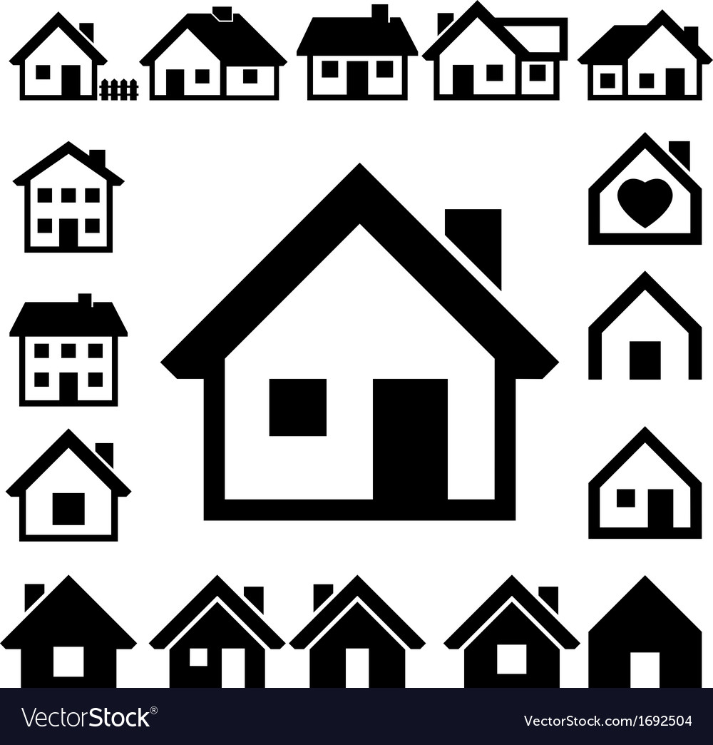 Houses icons set real estate vector | Price: 1 Credit (USD $1)