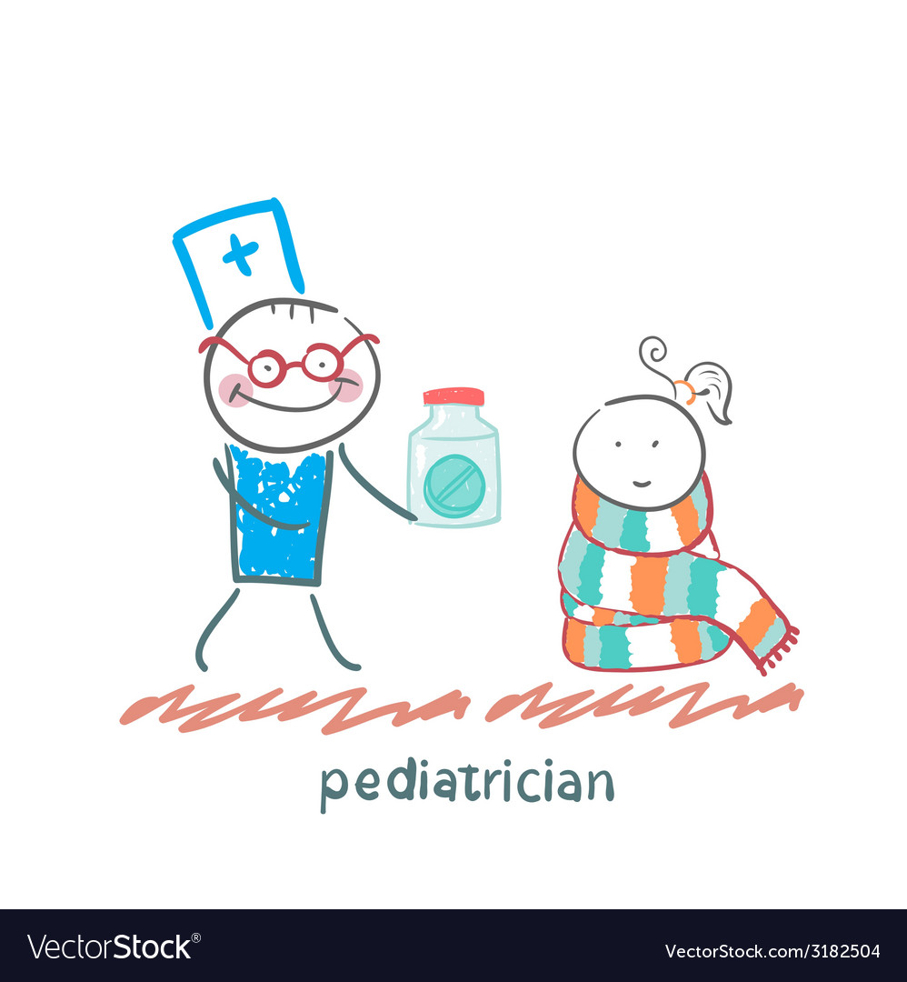 Pediatrician giving medicine to a child vector | Price: 1 Credit (USD $1)