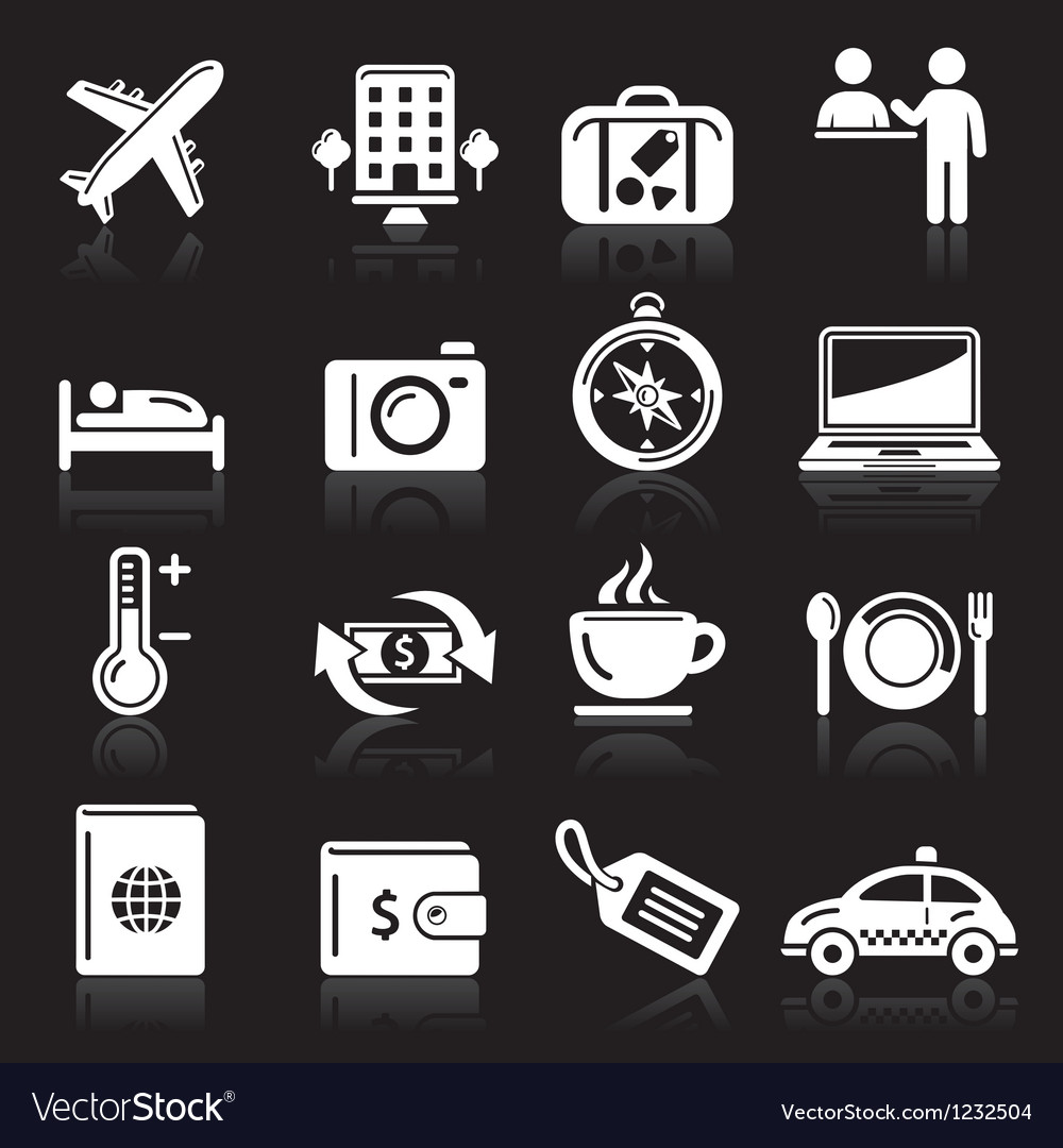 Travel white icons set vector | Price: 1 Credit (USD $1)