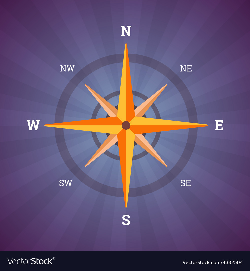 Wind rose compass in vintage colors vector | Price: 1 Credit (USD $1)