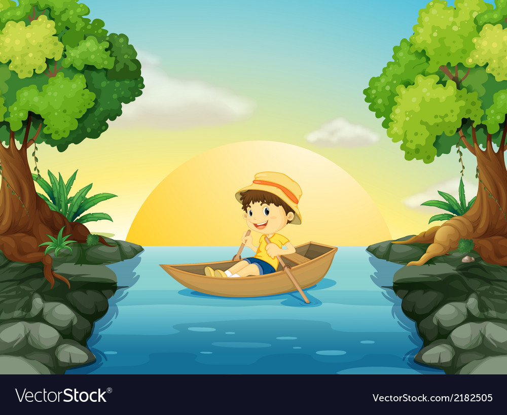 A boy boating vector | Price: 3 Credit (USD $3)