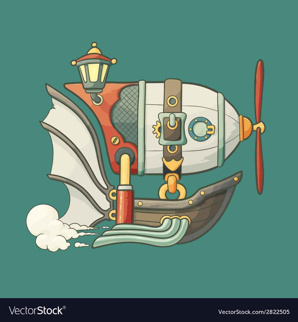 Cartoon steampunk styled flying airship with vector | Price: 1 Credit (USD $1)