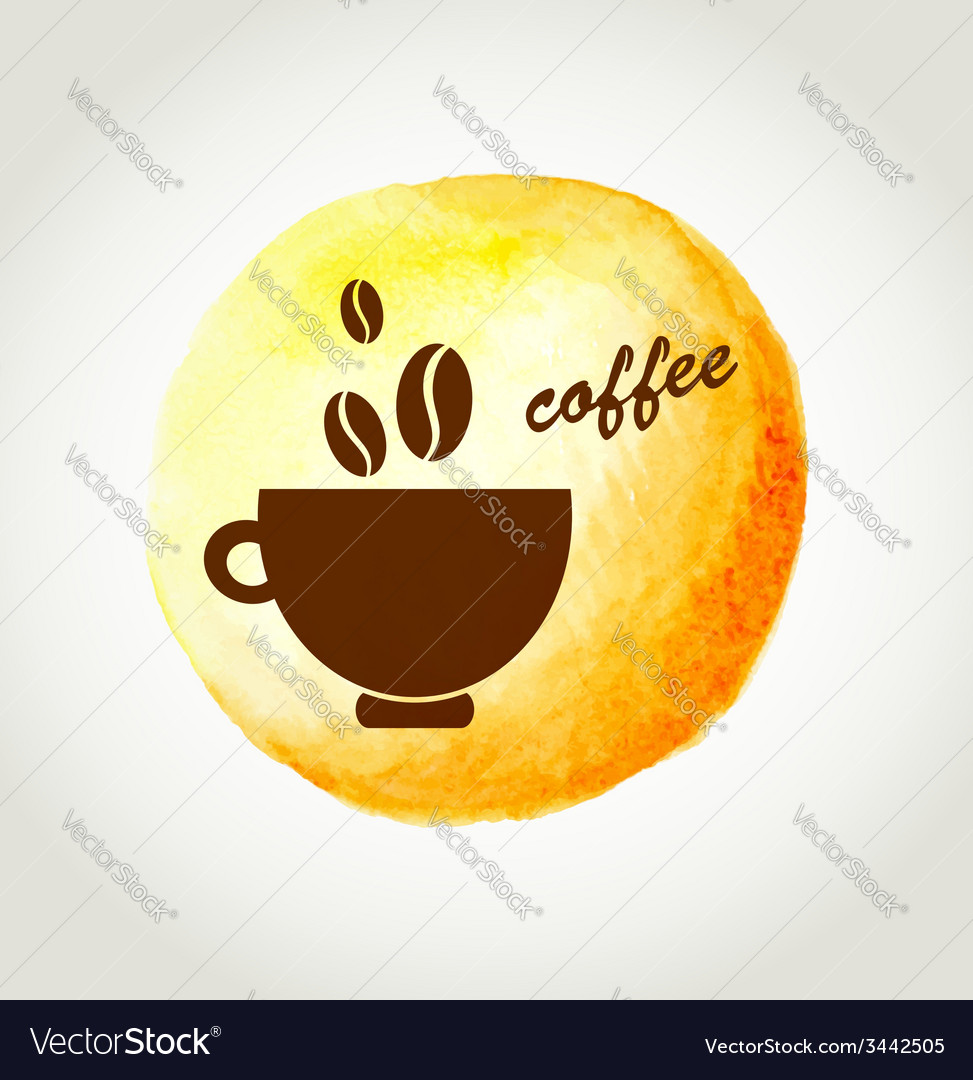 Cup of coffee on a yellow watercolor background vector | Price: 1 Credit (USD $1)
