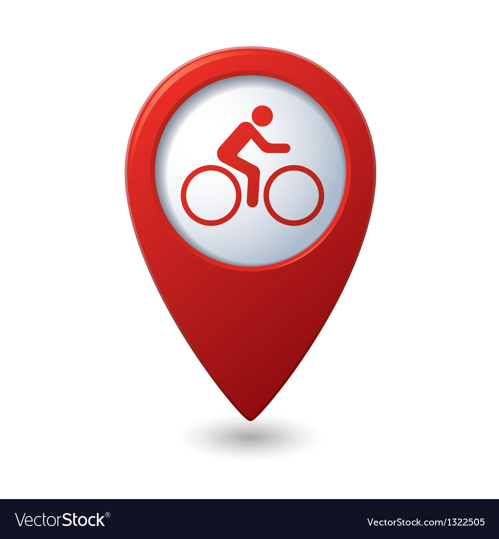Cyclist icon on map pointer vector | Price: 1 Credit (USD $1)