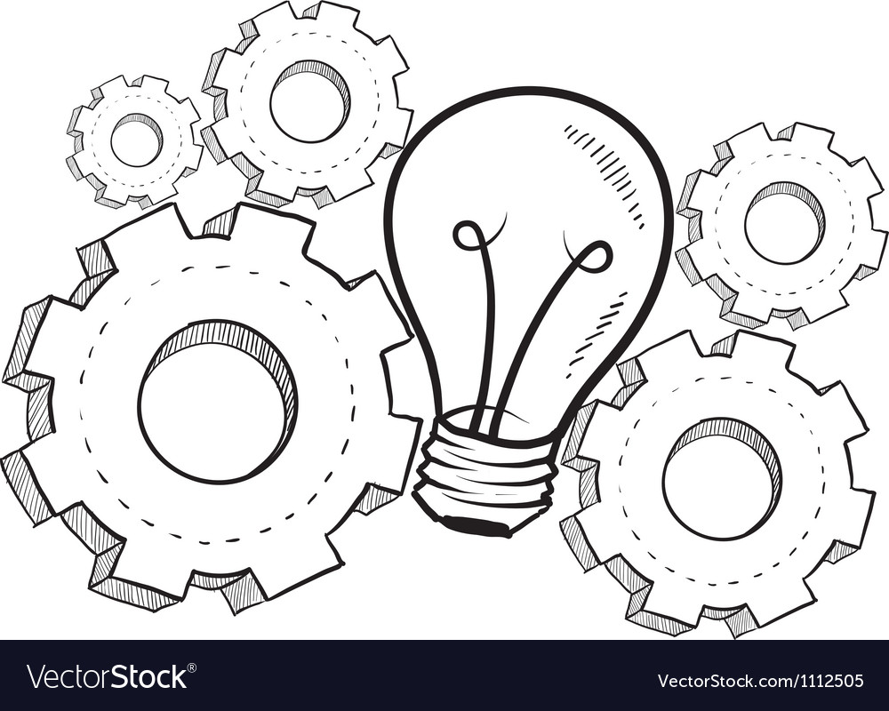 Doodle idea gears lightbulb vector | Price: 1 Credit (USD $1)