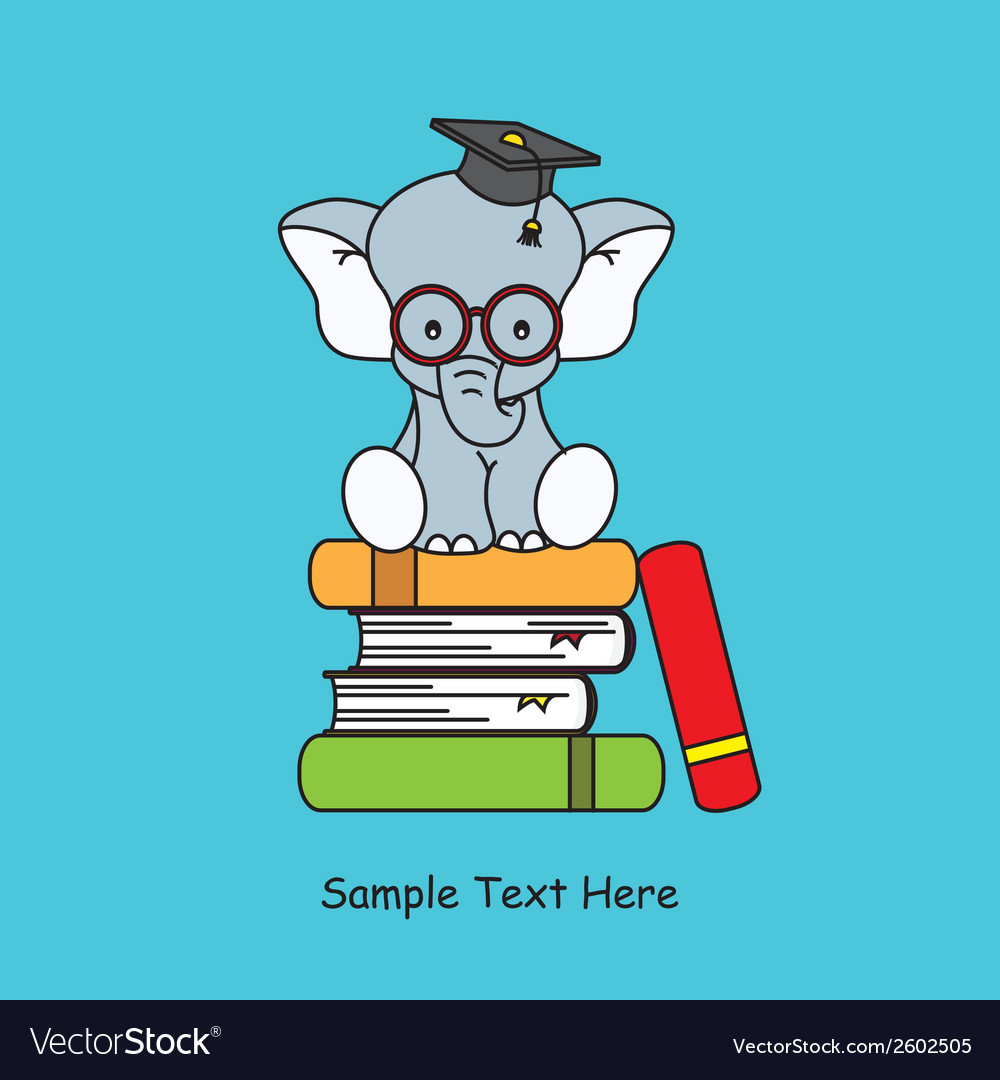 Elephant sitting on top of books vector | Price: 1 Credit (USD $1)