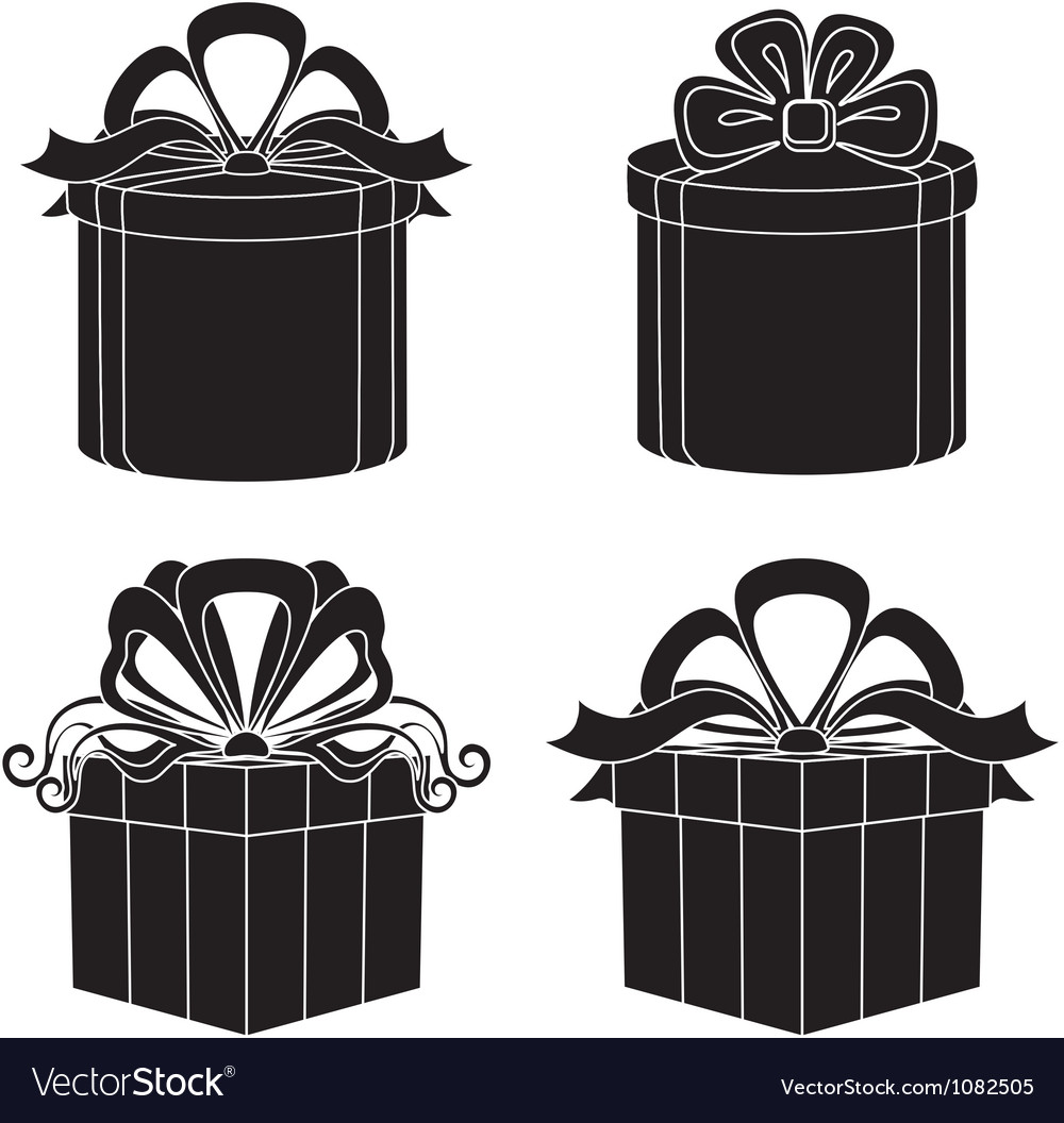 Gift box silhouette set vector | Price: 1 Credit (USD $1)