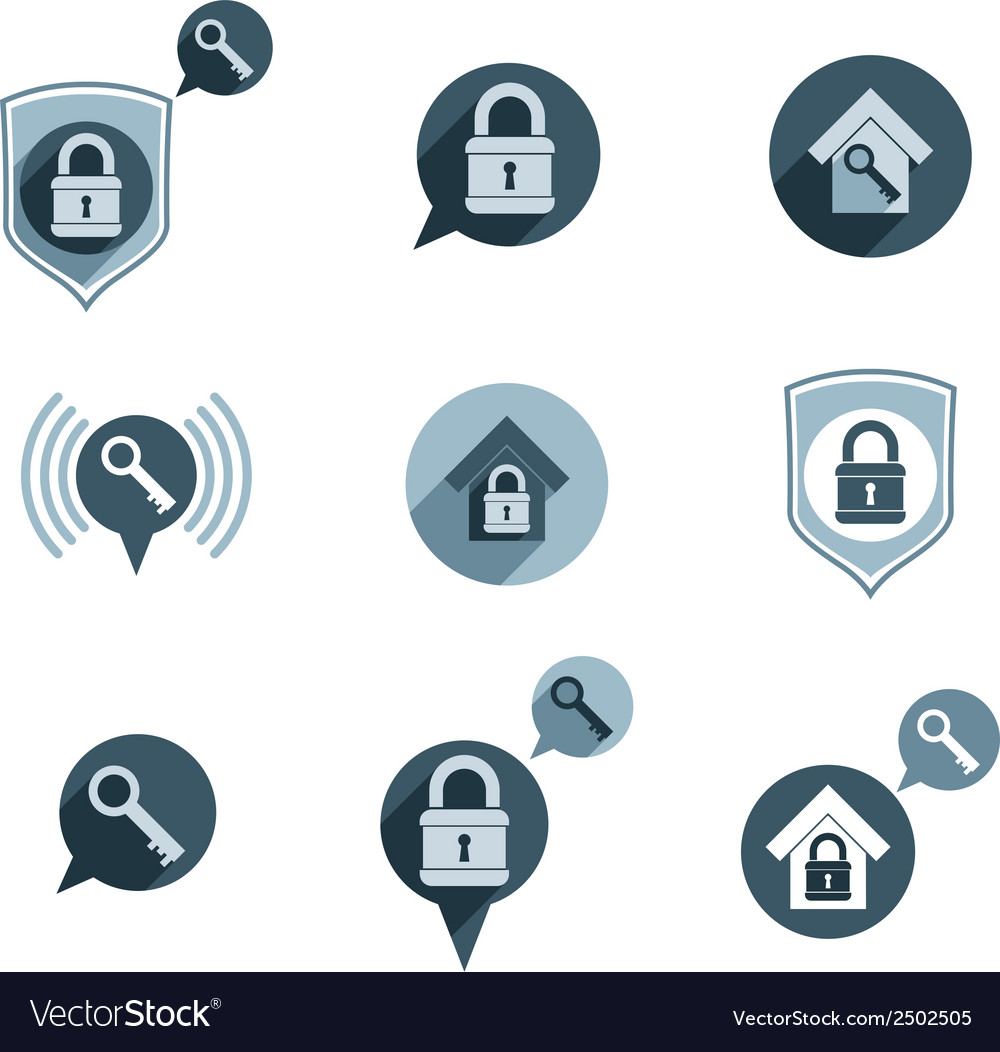 House security protection icons set home house vector | Price: 1 Credit (USD $1)