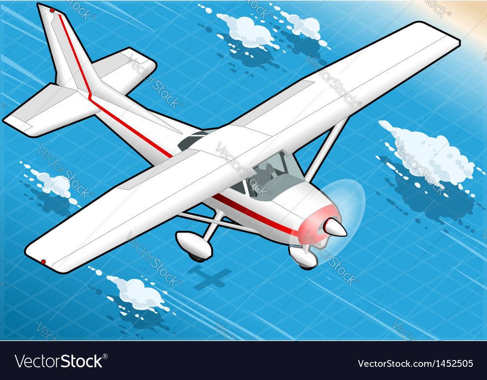 Isometric white plane in flight in front view vector | Price: 1 Credit (USD $1)