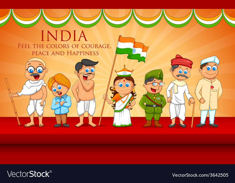 Kids in fancy dress of indian freedom fighter vector | Price: 1 Credit (USD $1)