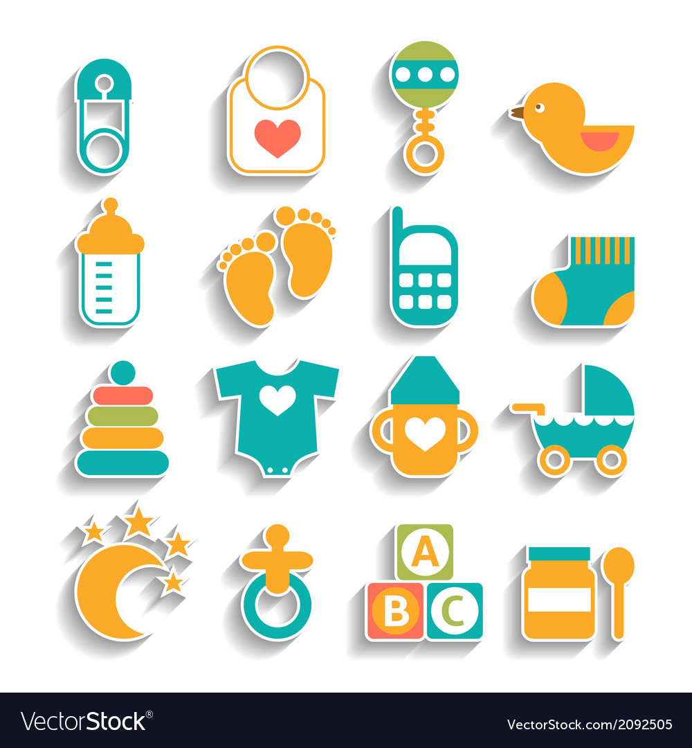 Set of baby icons isolated on a white background vector | Price: 1 Credit (USD $1)