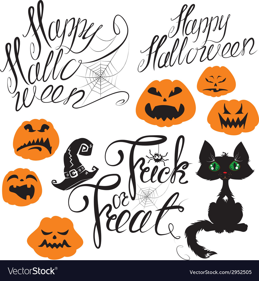 Set of halloween elements - pumpkin cat spider vector | Price: 1 Credit (USD $1)