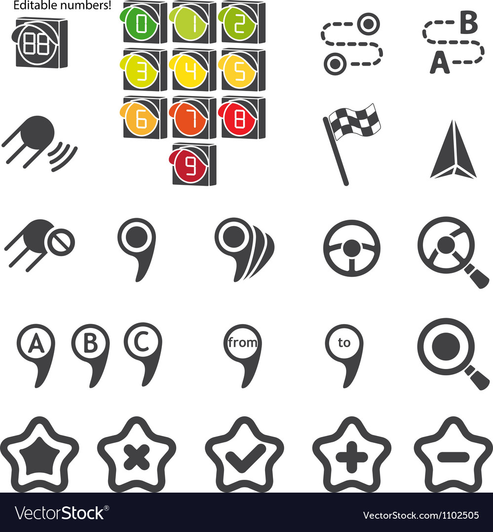 Set of navigational icons vector | Price: 1 Credit (USD $1)