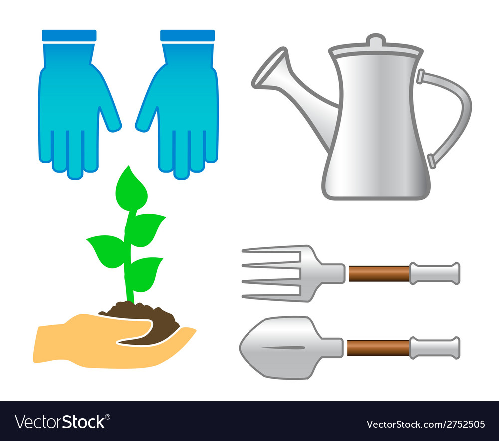 Set tools - colorful garden utensil vector | Price: 1 Credit (USD $1)