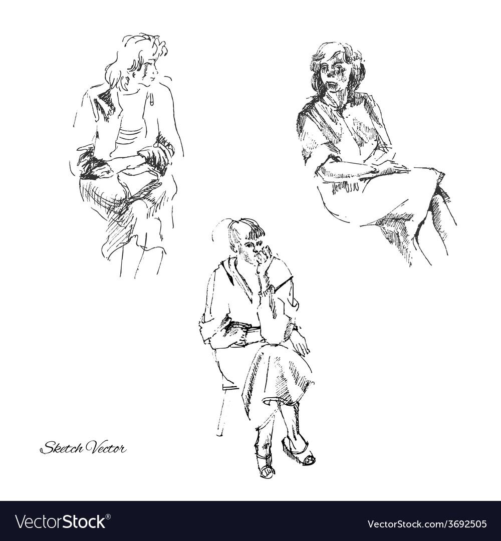 Sketches of women vector   Price: 1 Credit (USD $1)
