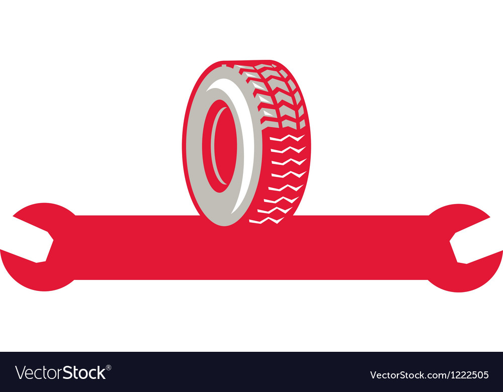 Tire with spanner wrench retro vector | Price: 1 Credit (USD $1)
