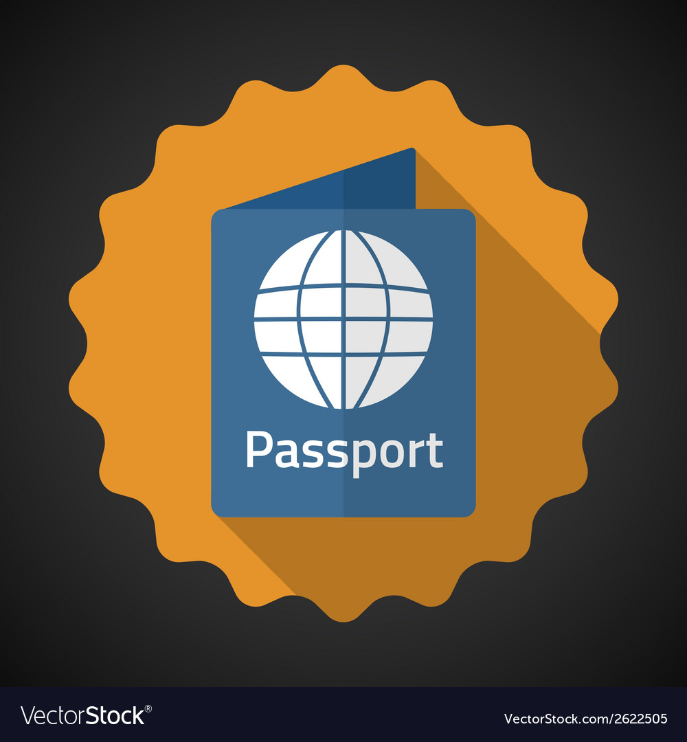 Travel passport flat icon background vector | Price: 1 Credit (USD $1)