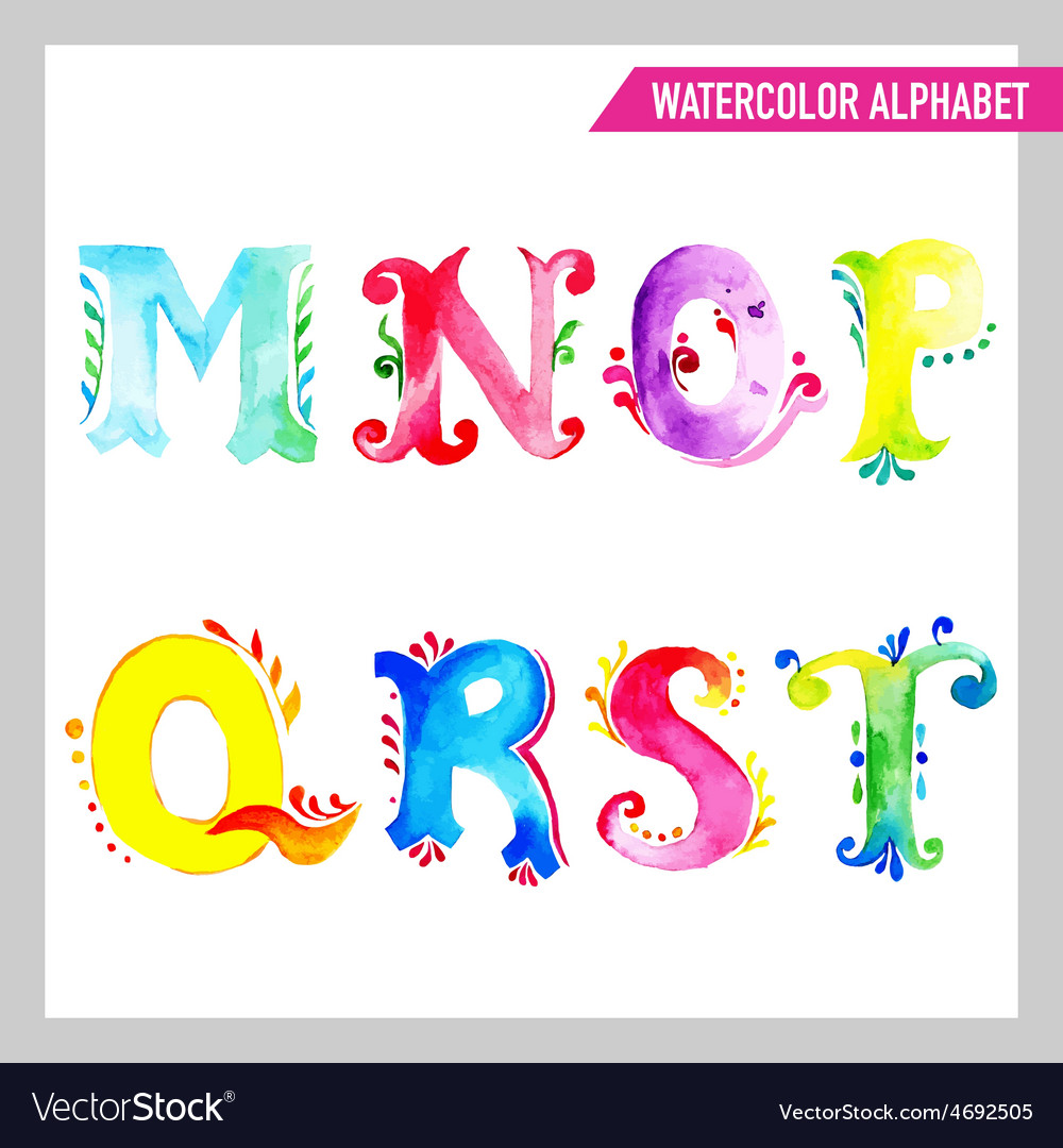 Watercolor alphabet m vector