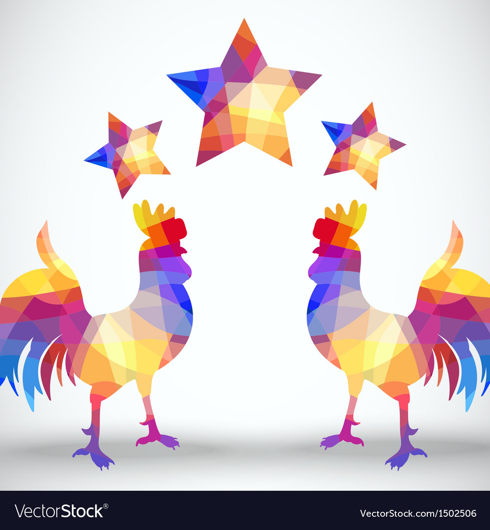 Abstract rooster of geometric shapes with stars vector | Price: 1 Credit (USD $1)