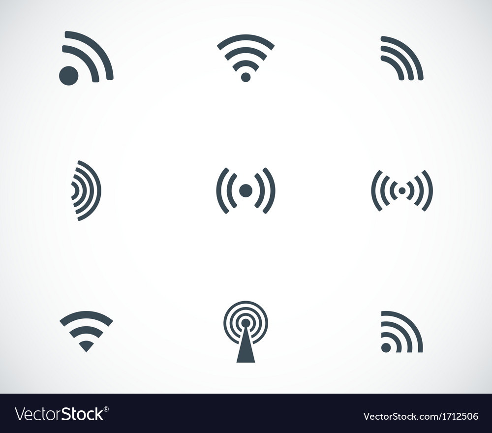 Black wireless icons set vector | Price: 1 Credit (USD $1)