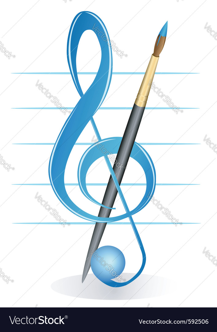 Brush and treble clef vector | Price: 1 Credit (USD $1)