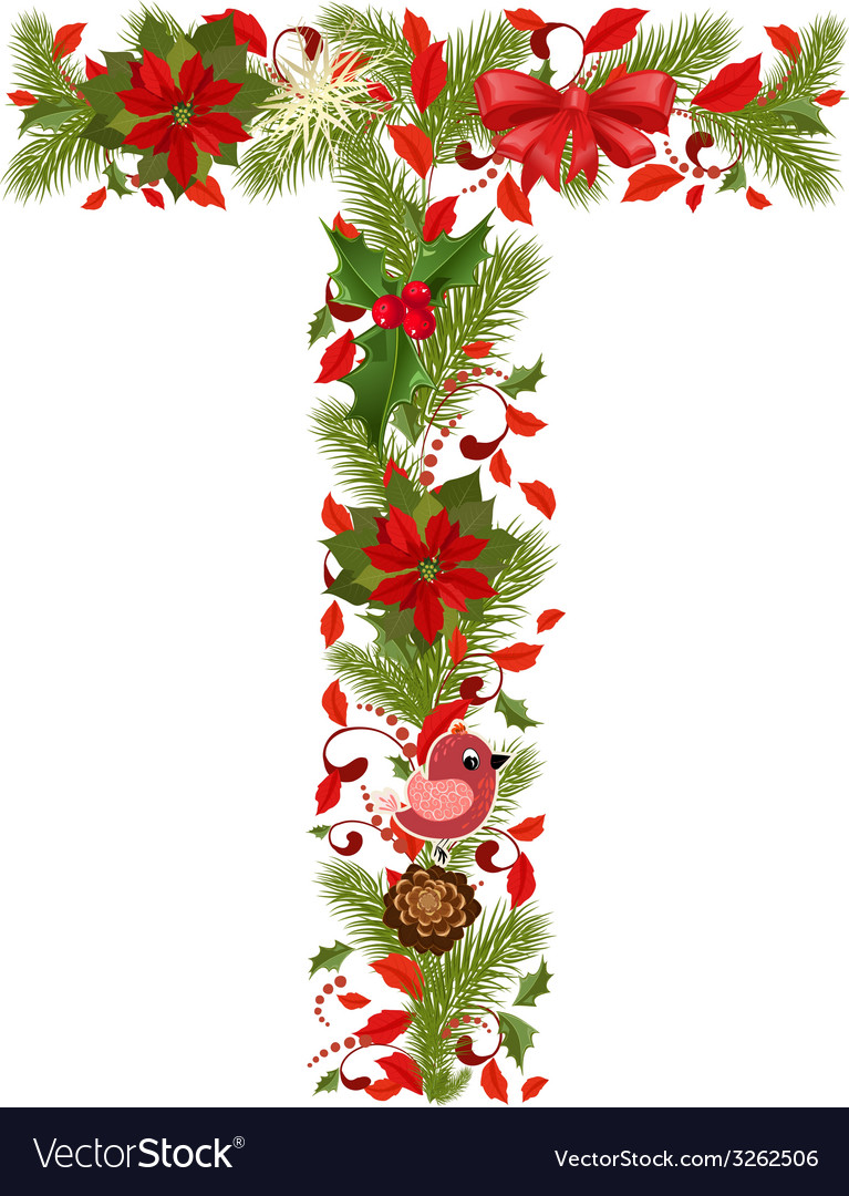 Christmas floral tree letter t vector | Price: 1 Credit (USD $1)