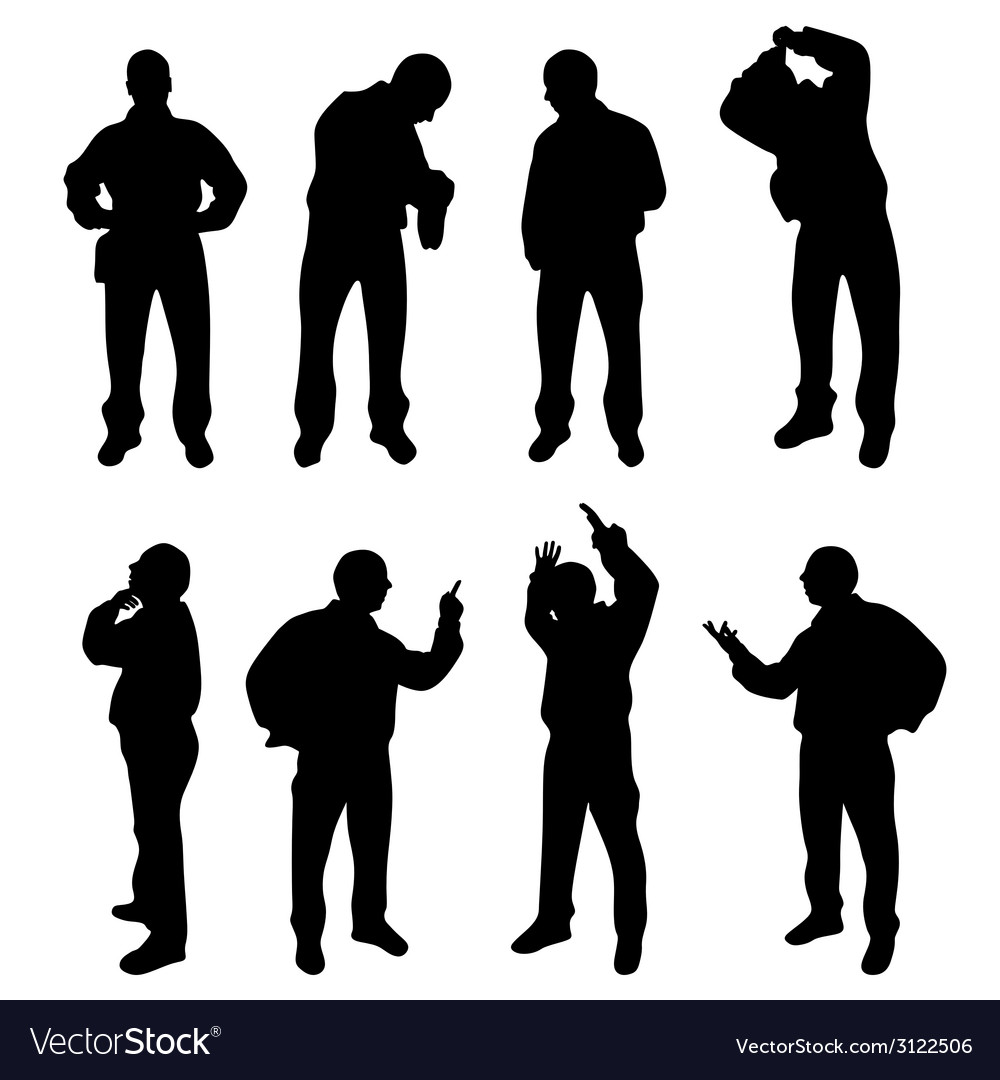 Conceived and nervous man silhouette vector   Price: 1 Credit (USD $1)