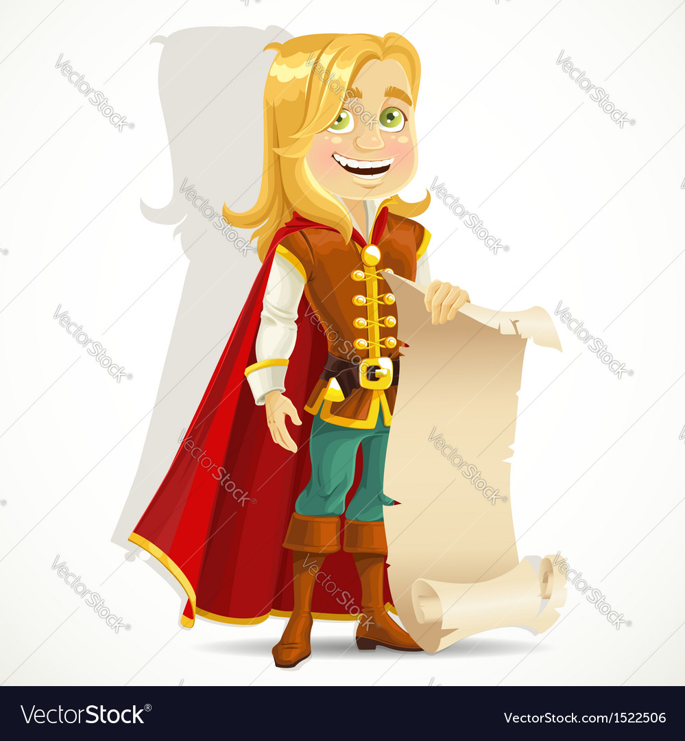 Cute blond prince with a scroll of parchment vector | Price: 3 Credit (USD $3)